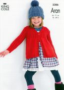King Cole Girls Rib Yoke Cardigans Fashion Knitting Pattern 3386  Aran
