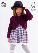 King Cole Girls Cabled Cardigans Fashion Aran Fashion Knitting Pattern 3387  Aran
