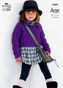 King Cole Girls Cardigan & Waistcoat Fashion Knitting Pattern 3389  Aran