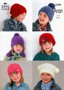 King Cole Childrens Hats Comfort Knitting Pattern 3390  Aran