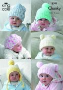 King Cole Baby Hats Comfort Knitting Pattern 3391  Chunky