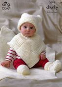 King Cole Baby Hat, Poncho, Booties & Blanket Comfort Knitting Pattern 3392  Chunky