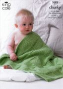 King Cole Baby Blankets Comfort Knitting Pattern 3393  Chunky
