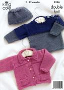 King Cole Baby Jacket, Sweater & Hat Big Value Knitting Pattern 3396  DK