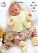 King Cole Baby Cardigan, Dress & Booties Big Value Knitting Pattern 3398  DK