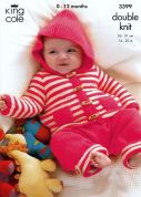 King Cole Baby Coat, Sweater & Trousers Big Value Knitting Pattern 3399  DK