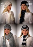King Cole Ladies Hats & Scarves Galaxy Knitting Pattern 3401  DK