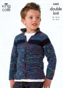 King Cole Boys Sweater & Jacket Wicked Knitting Pattern 3402  DK