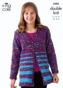 King Cole Girls Cardigan & Tunic Wicked Knitting Pattern 3406  DK
