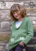 King Cole Girls Cardigan & Sweater Merino Knitting Pattern 3409  DK