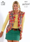 King Cole Ladies Gilet & Scarf Garland Knitting Pattern 3413  Super Chunky