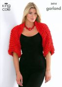 King Cole Ladies Shrug & Scarf Garland Knitting Pattern 3414  Super Chunky