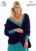 King Cole Ladies Top & Pashmina Wrap Garland Knitting Pattern 3415  Super Chunky
