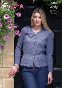 King Cole Ladies Sweater & Cardigan Big Value Knitting Pattern 3418  4 Ply
