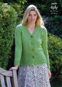 King Cole Ladies Sweater & Cardigan Big Value Knitting Pattern 3419  4 Ply