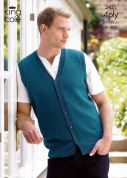King Cole Mens Slipover & Waistcoat Big Value Knitting Pattern 3421  4 Ply