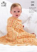 King Cole Baby Blankets Splash Knitting Pattern 3422  DK
