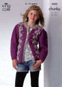 King Cole Childrens Cardigan & Tank Top Magnum Knitting Pattern 3433  Chunky