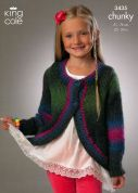 King Cole Girls Jackets Riot Knitting Pattern 3435  Chunky