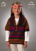 King Cole Girls Tunics Riot Knitting Pattern 3436  Chunky