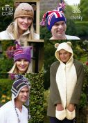 King Cole Ladies & Mens Novelty Hats Knitting Pattern 3441  DK, Chunky