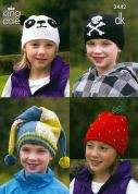 King Cole Childrens Novelty Hats Merino Knitting Pattern 3442  DK