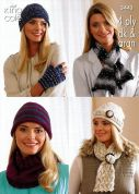 King Cole Ladies Hats, Scarves, Gloves & Cowl Zig Zag Knitting Pattern 3443  4 Ply, DK, Aran