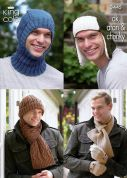 King Cole Mens Hats, Scarves & Balaclava Merino Knitting Pattern 3445  DK, Aran, Chunky