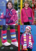 King Cole Childrens Hat, Scarves, Gloves, Bag & Leg Warmers Knitting Pattern 3446  DK