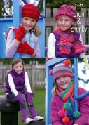 King Cole Girls Hats, Scarves, Gloves & Warmers Fashion Knitting Pattern 3447  Aran, Chunky