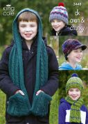King Cole Boys Hats & Scarves Wicked Knitting Pattern 3448  DK, Aran, Chunky