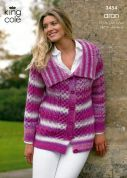 King Cole Ladies Cardigan & Sweater Fashion Knitting Pattern 3454  Aran