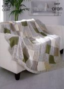 King Cole Home Afghan Throw Fashion Knitting Pattern 3457  Aran