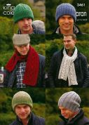 King Cole Mens & Boys Hats & Scarves Merino Blend Knitting Pattern 3461  Aran