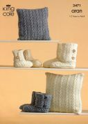 King Cole Family Hug Slipper Boots & Cushion Fashion Knitting Pattern 3471  Aran