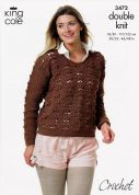 King Cole Ladies Sweaters Merino Crochet Pattern 3472  DK