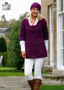 King Cole Ladies Tunic, Cardigan & Hat Merino Blend Crochet Pattern 3474  Aran