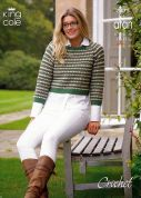 King Cole Ladies Top & Sweater Merino Blend Crochet Pattern 3475  Aran