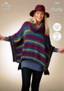 King Cole Ladies Ponchos Riot Knitting Pattern 3482  Chunky