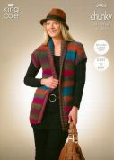 King Cole Ladies Cardigan & Waistcoat Riot Knitting Pattern 3483  Chunky