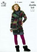 King Cole Girls Tunic & Cardigan Riot Knitting Pattern 3484  DK