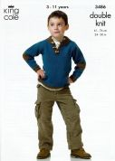 King Cole Boys Hoodie & Sweater Merino Knitting Pattern 3486  DK
