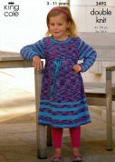 King Cole Girls Dress & Cardigan Bamboo Cotton Knitting Pattern 3492  DK