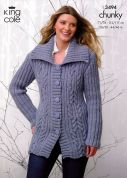 King Cole Ladies Jacket & Sweater Magnum Knitting Pattern 3494  Chunky