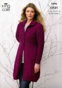 King Cole Ladies Coat & Hooded Cardigan Fashion Knitting Pattern 3496  Aran