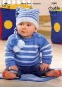 King Cole Baby Sweater, Jacket, Hat & Blanket Comfort Knitting Pattern 3500  DK