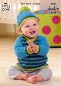 King Cole Baby Cape, Sweater & Hat Comfort Knitting Pattern 3502  DK
