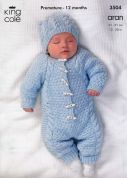 King Cole Baby All in One Onesie Comfort Knitting Pattern 3504  Aran