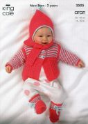 King Cole Baby Sweater, Jacket, Scarf, Hat & Boots Comfort Knitting Pattern 3505  Aran