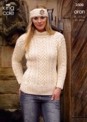 King Cole Ladies Sweater, Cardigan & Headband Fashion Knitting Pattern 3508  Aran